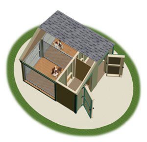 medium double animal kennel inside